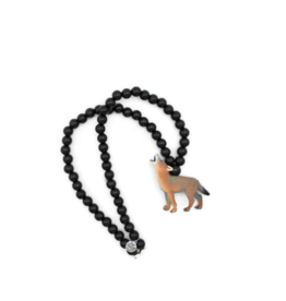 Wild Child Collier en bois noir - Loup