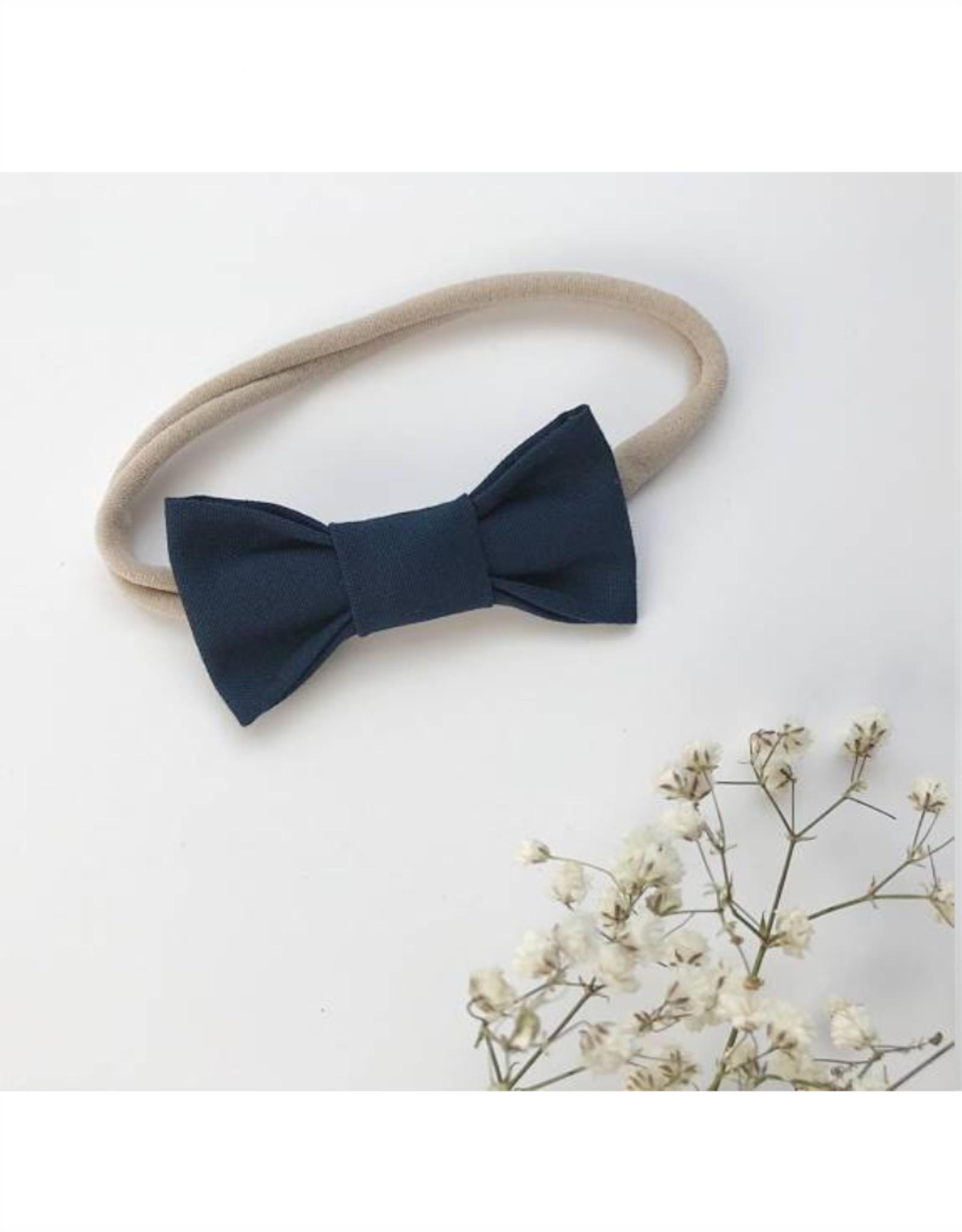 Mlle Léonie bow tie headband - navy blue