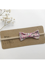 Mlle Léonie bow tie headband - purple and fuchsia flowers