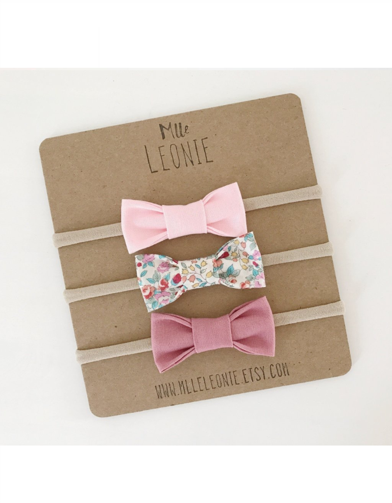 Mlle Léonie 3 bow tie headband - light pink, flower and vintage rose