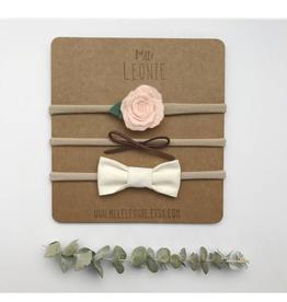 Mlle Léonie Trio bandeau fleur et boucles - fleur rose pâle, suède brun, crème
