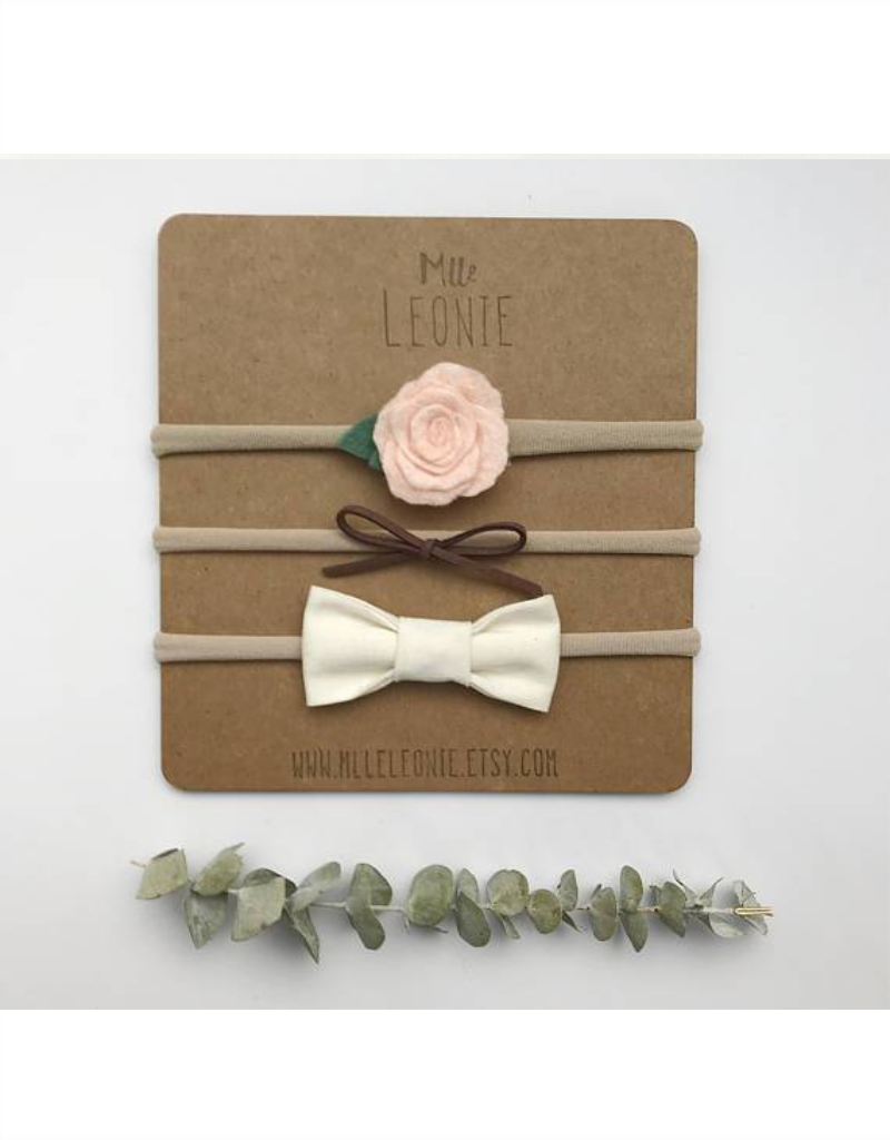 Mlle Léonie 3 flower headbands and bows - pale pink flower, brown suede, cream