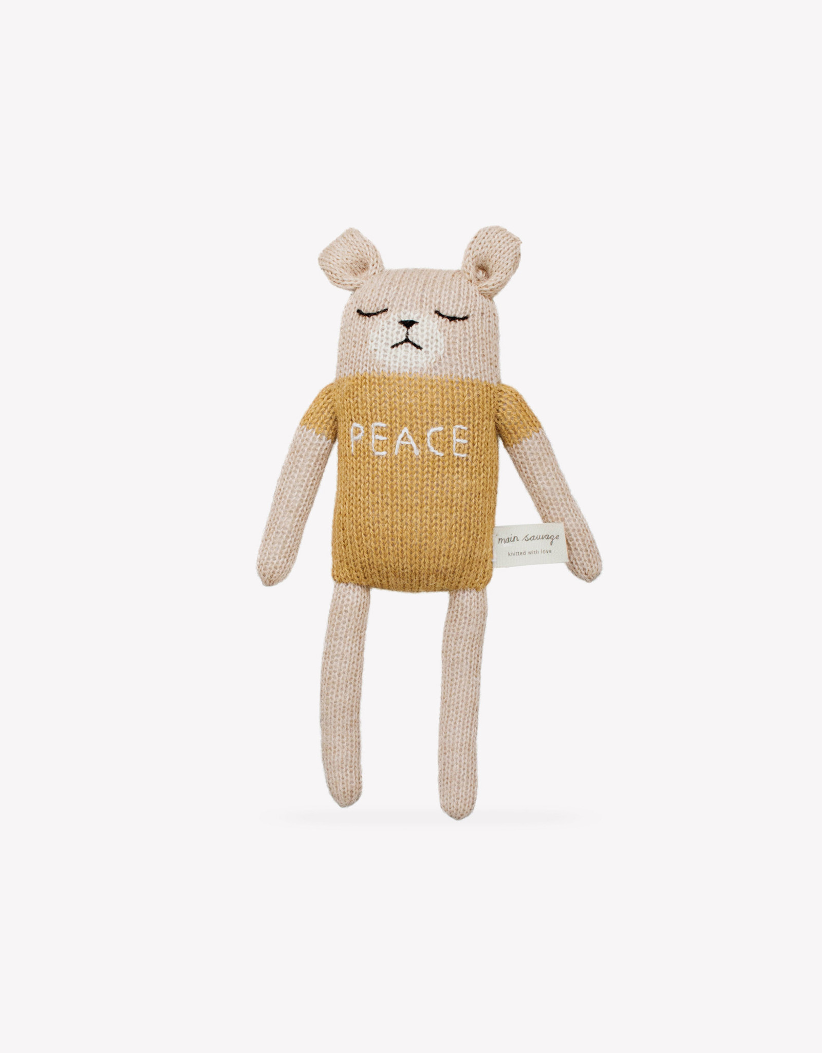 "Main sauvage Peluche ourson ""Peace"" Jaune moutarde"