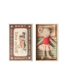 Maileg Little sister mouse in a matchbox