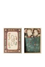 Maileg Deux Bébés Souris dans une boîte d'allumette - Bleu