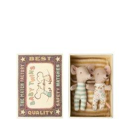 Maileg Deux Bébés Souris dans une boîte d'allumette - Jaune
