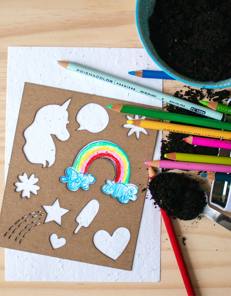 Atelier Rue Tabage Seed paper + Unicorn stencil