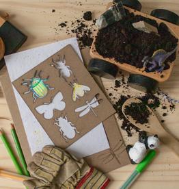 Atelier Rue Tabaga Papier ensemencé + Pochoir insecte