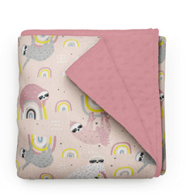 Olé Hop Minky Blanket -  Sloths and rainbows - Pink