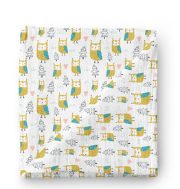 Olé Hop Bamboo blanket - Owls in the forest