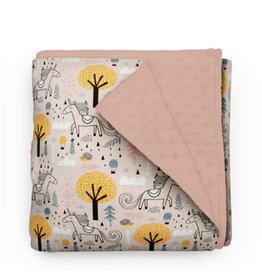 Olé Hop Couverture minky - Licorne rose et orangé