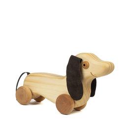 Atelier Cheval de bois Maurice le chien saucisse en bois