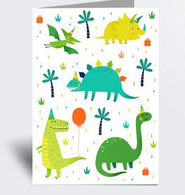 Julie Cossette Illustrations Carte de souhaits - Dinosaures en fête