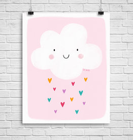 Julie Cossette Illustrations Illustration - Nuage sur fond rose - 8 x 10