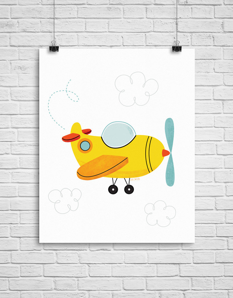 Julie Cossette Illustrations Illustration - Avion - 12 x 16