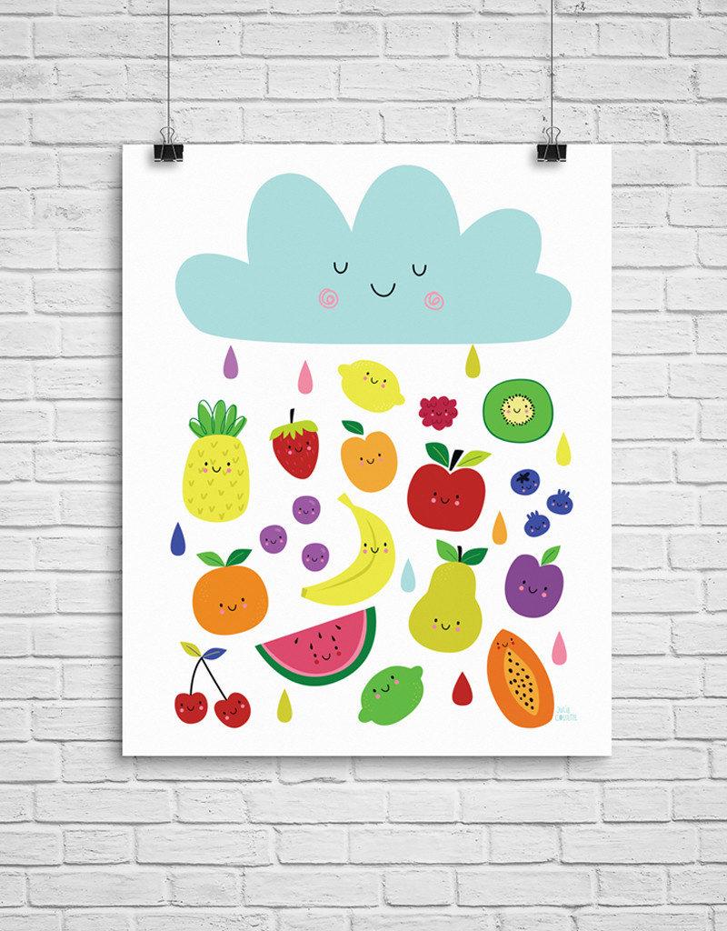 Julie Cossette Illustrations Illustration - Pluie de fruits - 12 x 16