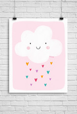 Julie Cossette Illustrations Illustration - Nuage sur fond rose - 12 x 16