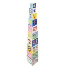 Petit Monkey Cubes à empiler - Lettres, chiffres, animaux et objets