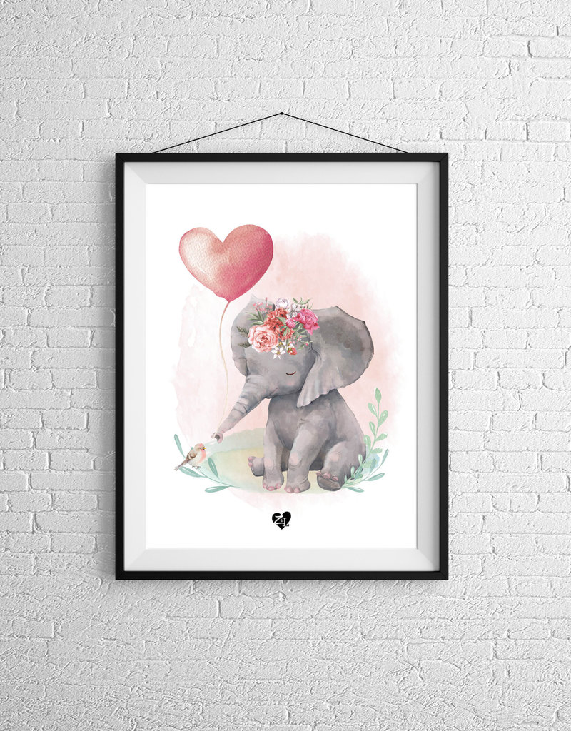 Zack et Livia Illustration - Pink elephant