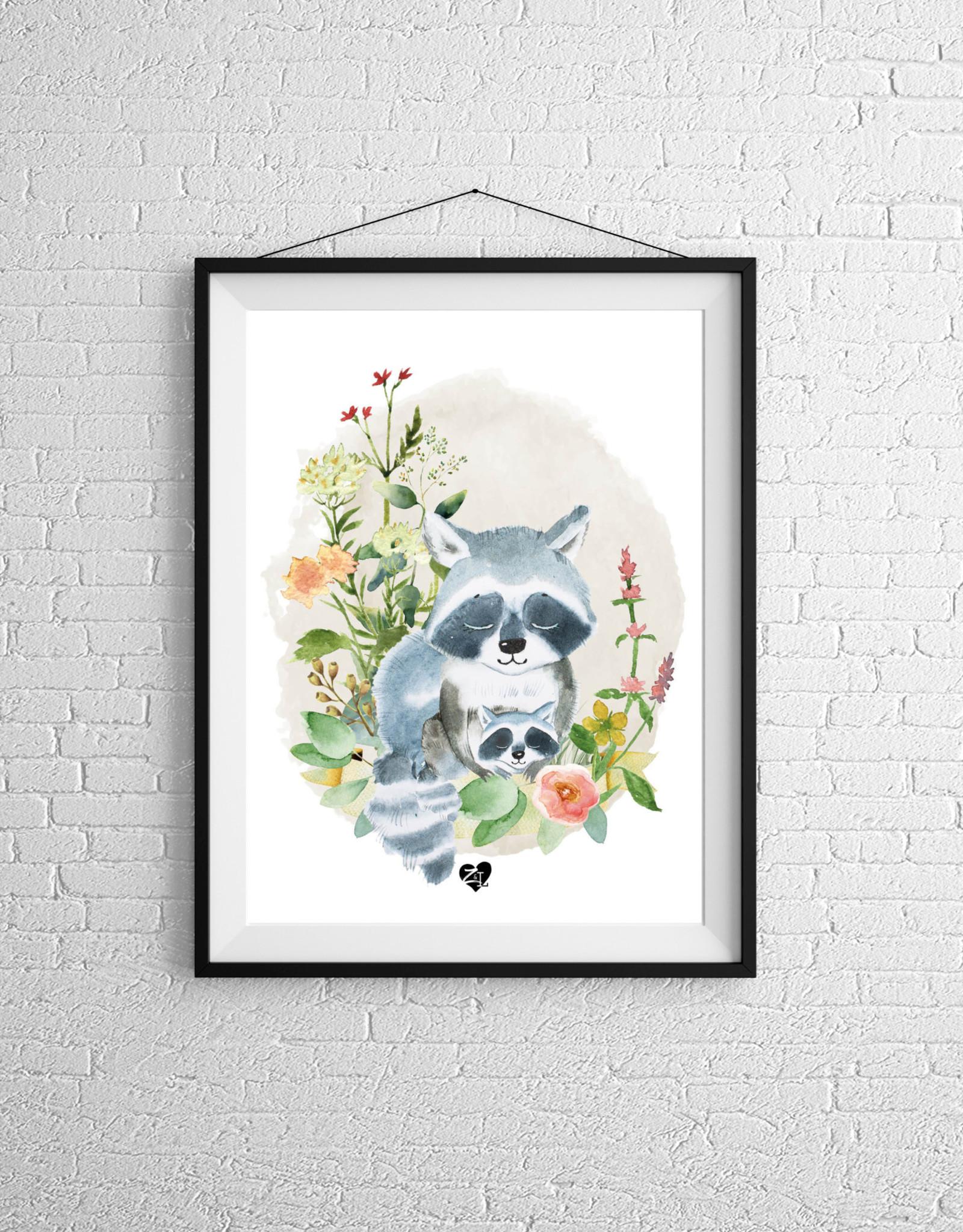 Zack et Livia Illustration - Raton Laveur et son bébé
