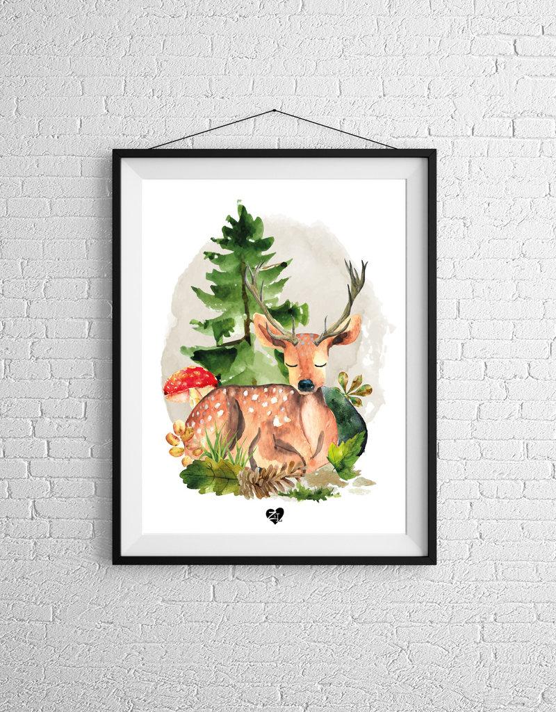 Zack et Livia Illustration - Deer and forest