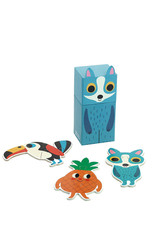 Vilac 3 Wooden Puzzle in cute box - Blue fox