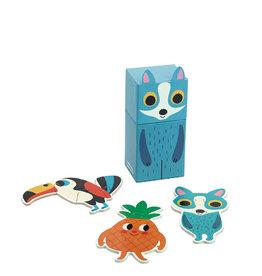 Vilac 3 Casse-têtes en bois avec jolie boîte - Renard bleu