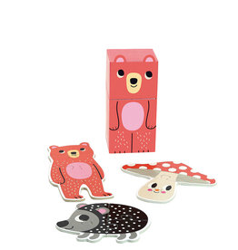 Vilac 3 Wooden Puzzle in cute box - Happy Bear