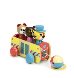 Vilac Pull-along Wooden Train - 3 animals
