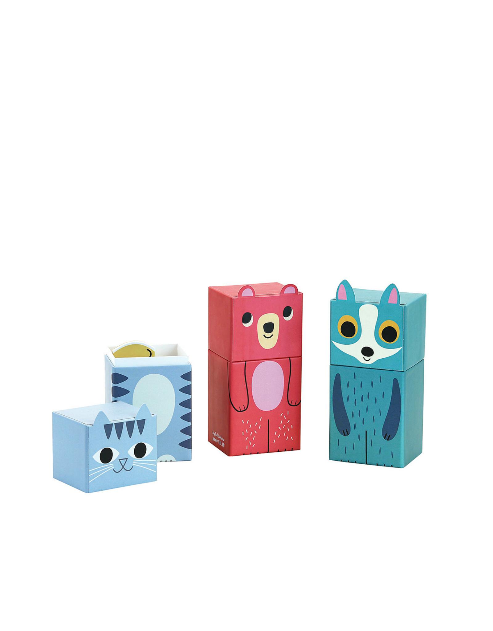 Vilac 3 Wooden Puzzle in cute box - Blue fox