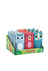 Vilac 3 Wooden Puzzle in cute box - Grey cat