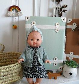 Paola Reina Poupée Paola Reina Rose - Robe , veste en laine et bandeau turquoise