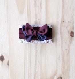Belle des bois Bandeau/Élastique avec Petit papillon : Prune et bleu