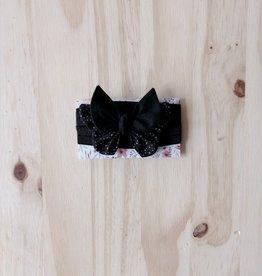 Belle des bois Bandeau/Élastique avec Petit papillon : Noir et picots argentés