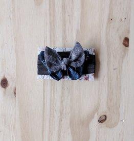 Belle des bois Bandeau/Élastique avec Petit papillon : Bleu et Gris foncé