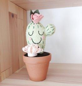 Pink Clémentine Cactus en feutrine - Endormi Rose pâle