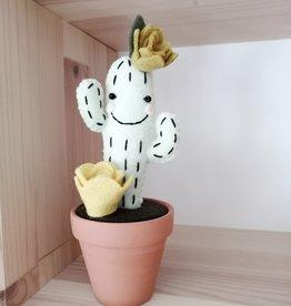 Pink Clémentine Cactus en feutrine - Kaki et jaune