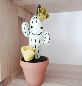 Pink Clémentine Wool felt cactus - Khaki and yellow