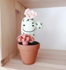 Pink Clémentine Wool felt cactus -  Pale pink and pink
