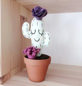 Pink Clémentine Wool felt cactus - Sleeping plum