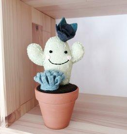Pink Clémentine Cactus en feutrine - Bleu gris et vert foncé
