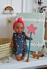 Paola Reina Robe pour poupée Paola Reina - Marine à petites fleurs