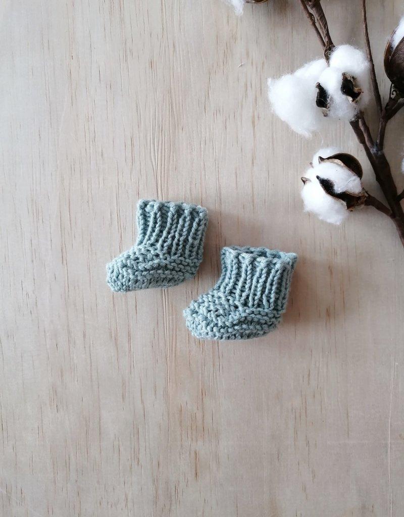 Paola Reina Chaussons tricotés à la main - Turquoise
