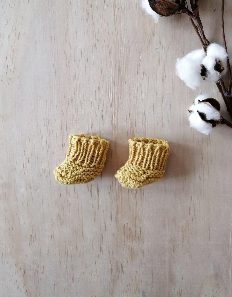Paola Reina Chaussons tricotés à la main - Moutarde
