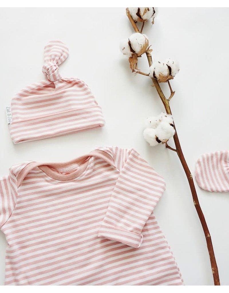 Zak & Zoé Mitaine nouveau-né - Ligné rose et blanc