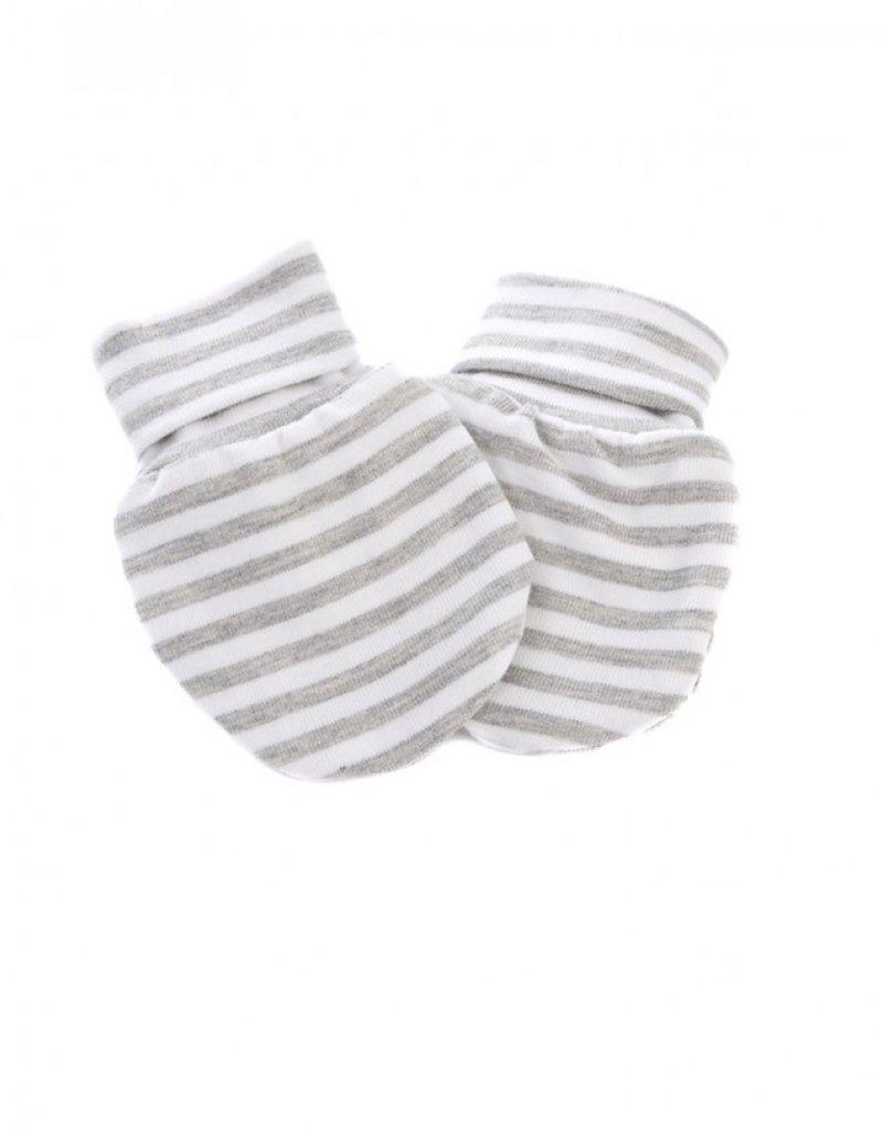 Zak & Zoé Mitaine nouveau-né - Ligné gris et blanc