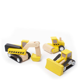 Plan Toys Ensemble de camions de construction en bois