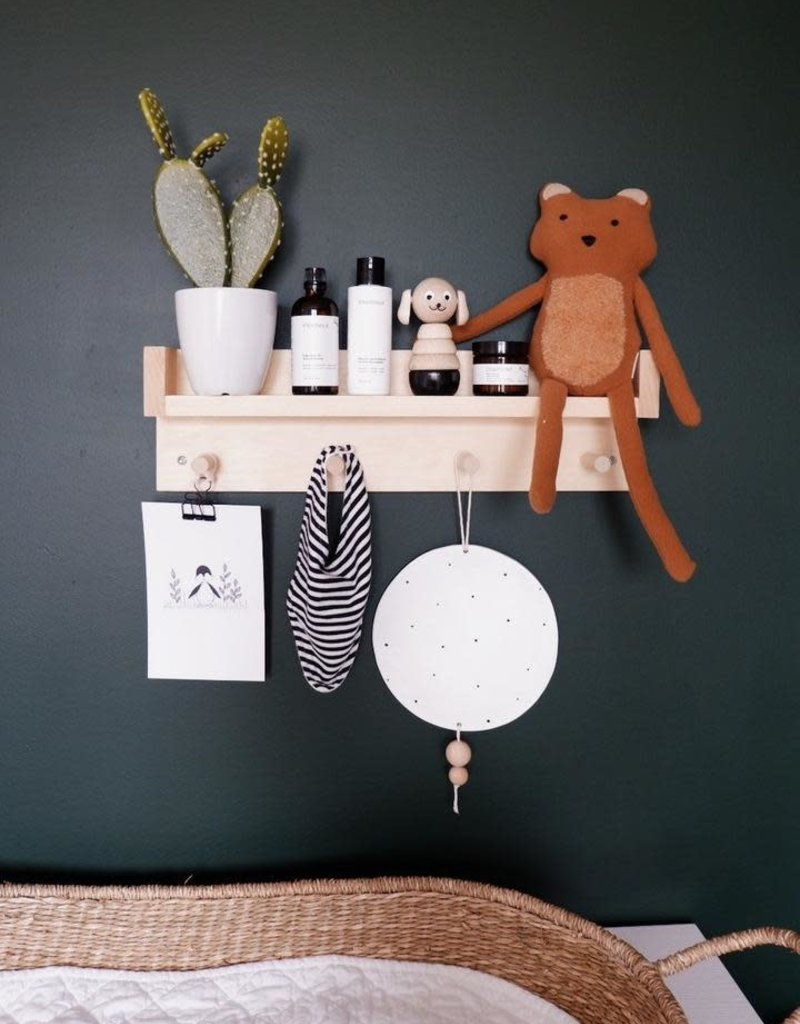 Minika étagère en bois avec 4 crochets