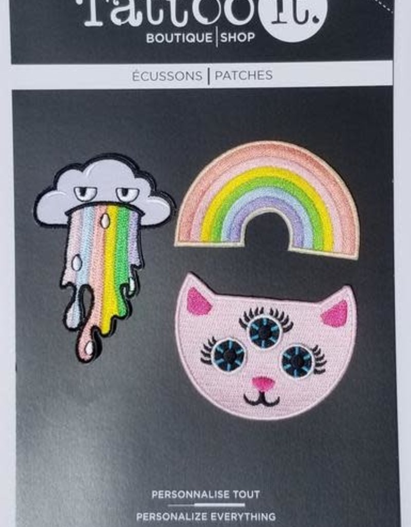 Tattoo It Iron-on Patch  -  Rainbow Mania ( set of 3)