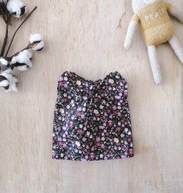 Paola Reina Paola Reina doll dress - Black with pink-lilac flowers